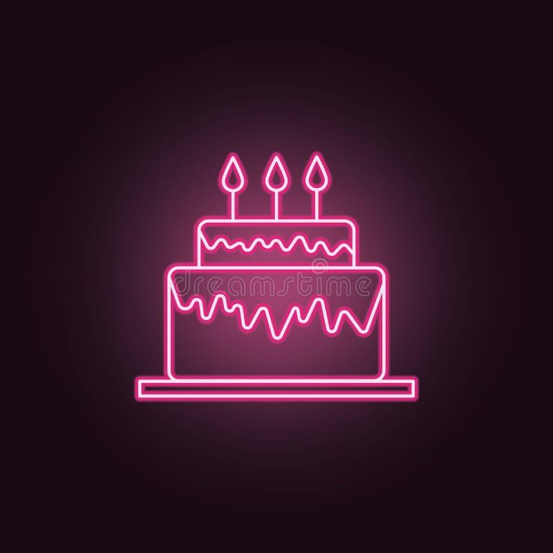 Icono de neón de la torta de cumpleaños Elementos del sistema del partido Icono simple para las p?ginas web, dise?o web, app m?vi ilustración del vector