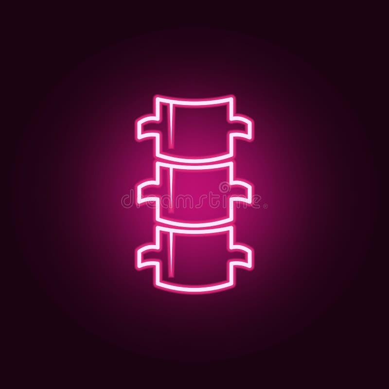 Icono de neón plano de la espina dorsal Elementos del sistema de las partes del cuerpo Icono simple para las p?ginas web, dise?o  libre illustration