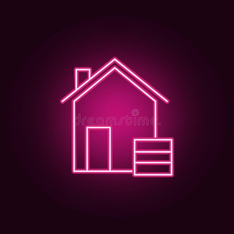 icono de ne?n del almac?n Elementos del sistema de Real Estate Icono simple para las p?ginas web, dise?o web, app m?vil, gr?ficos libre illustration