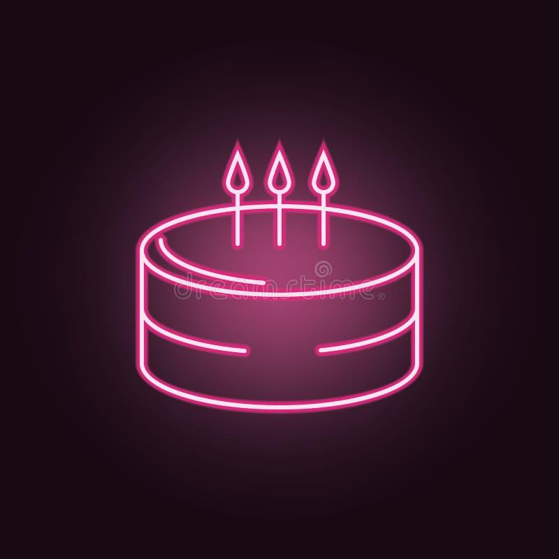 Icono de ne?n de la torta de cumplea?os Elementos del sistema del partido Icono simple para las p?ginas web, dise?o web, app m?vi stock de ilustración