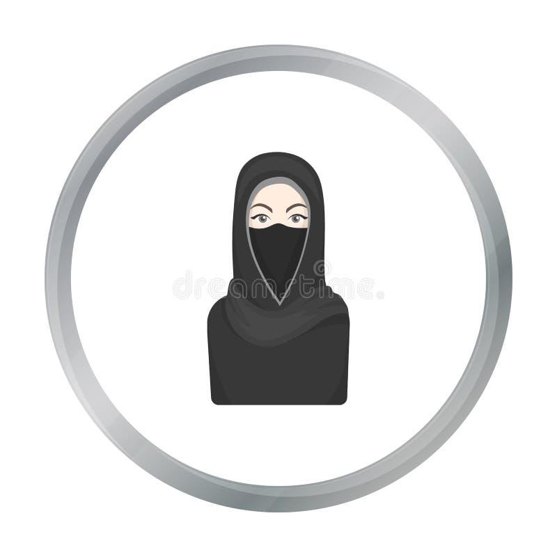 Icono de Niqab en estilo de la historieta aislado en el fondo blanco Ejemplo del vector de la acción del símbolo de la religión stock de ilustración
