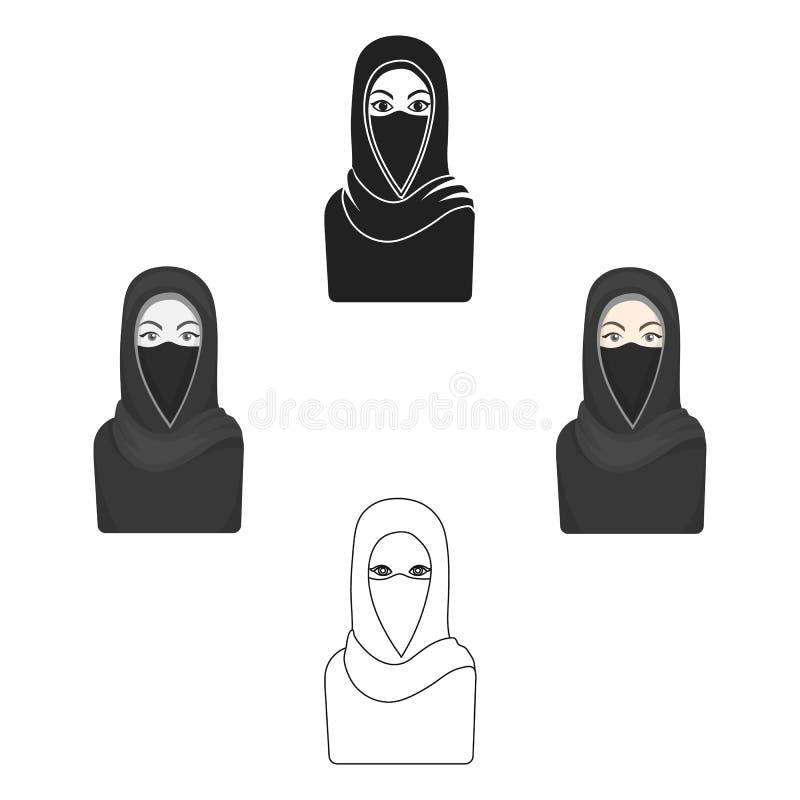 Icono de Niqab en estilo de la historieta aislado en el fondo blanco Ejemplo del vector de la acción del símbolo de la religión ilustración del vector