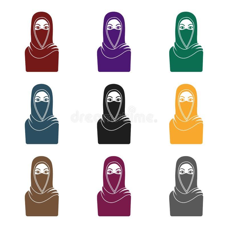 Icono de Niqab en estilo negro aislado en el fondo blanco Ejemplo del vector de la acción del símbolo de la religión ilustración del vector