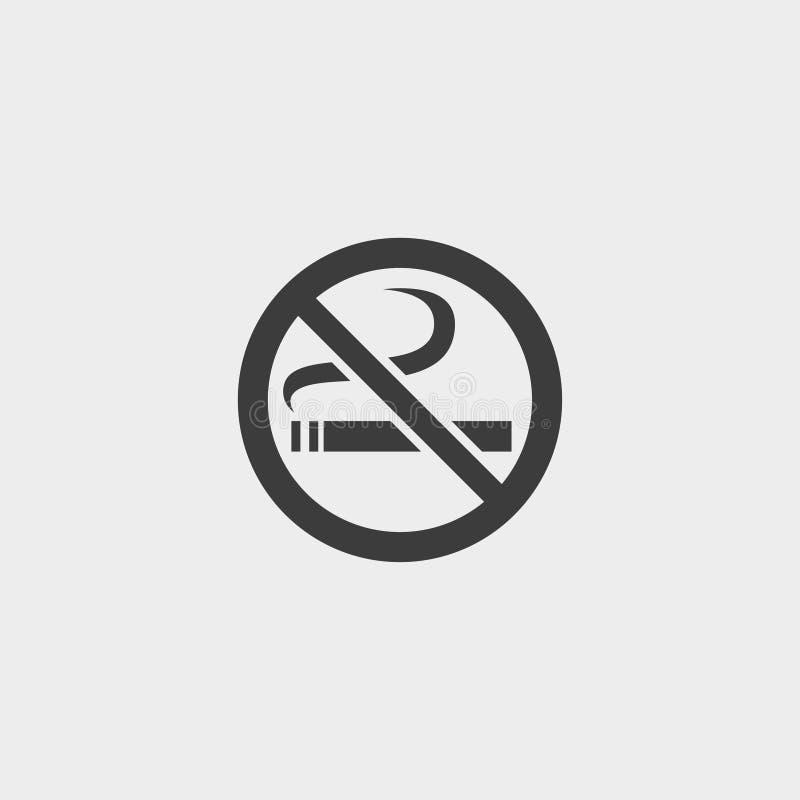 Icono de no fumadores en un diseño plano en color negro Ilustración EPS10 del vector stock de ilustración