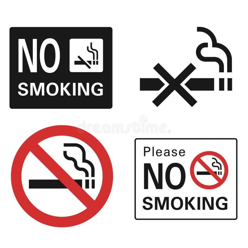 Icono de no fumadores fijado, estilo simple stock de ilustración
