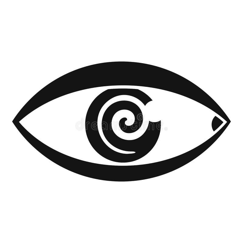 Icono de ojo mágico de la hipnosis, estilo simple stock de ilustración