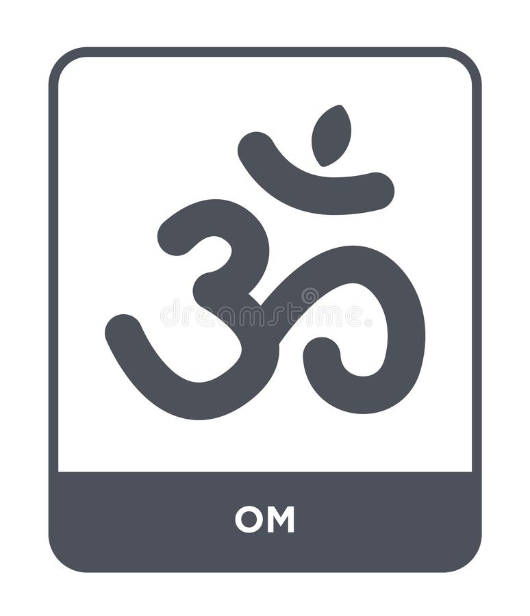 icono de OM en estilo de moda del diseño Icono de OM aislado en el fondo blanco símbolo plano simple y moderno del icono del vect stock de ilustración