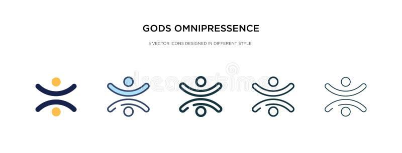 Icono de omnipresencia de dioses en ilustración vectorial de estilo diferente dos iconos vectoriales de omnipresencia de dioses n ilustración del vector