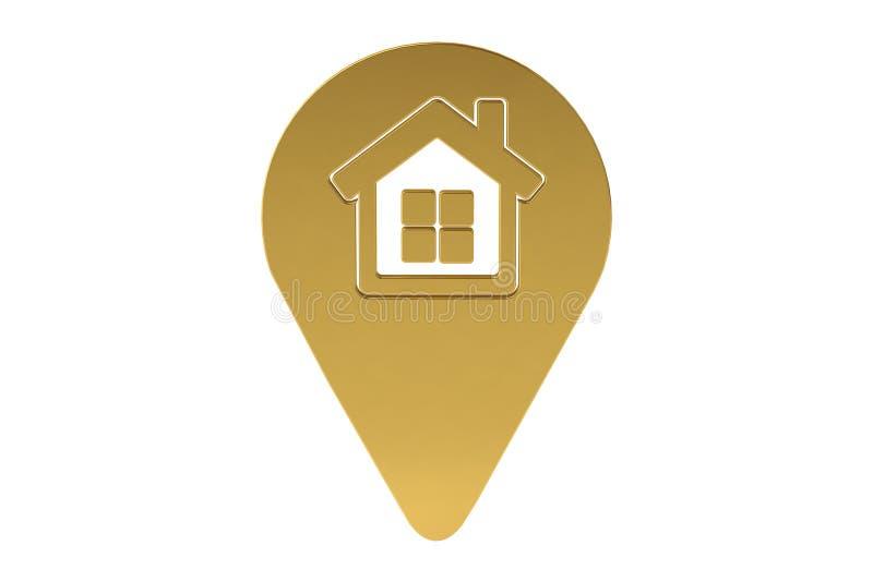 Icono de oro de la ubicación de la casa, ejemplo 3D ilustración del vector