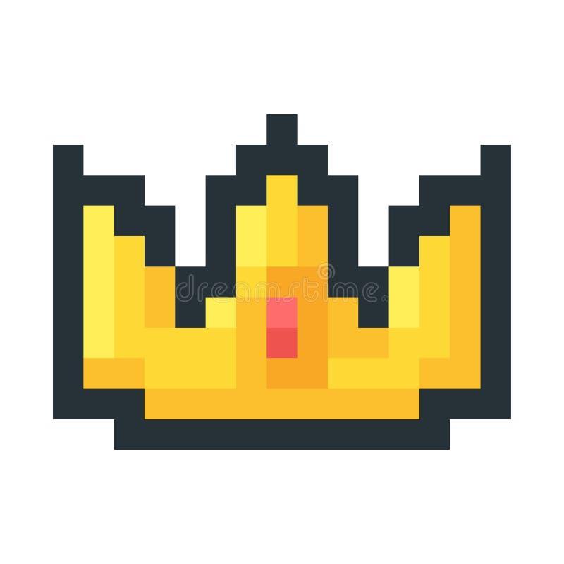 Icono de oro del arte del pixel de la corona libre illustration