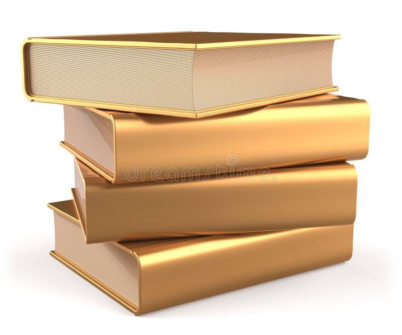 Icono de oro del libro de texto de los libros del oro de la pila del amarillo en blanco de la literatura stock de ilustración