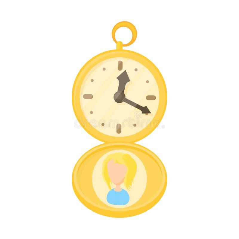 Icono de oro del reloj de bolsillo, estilo de la historieta ilustración del vector