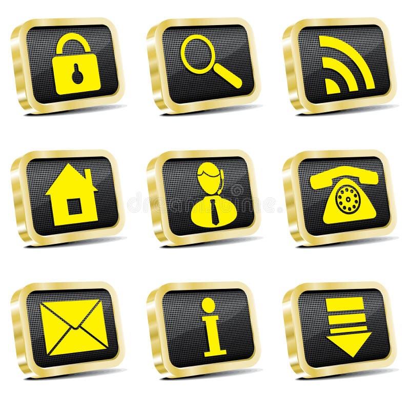 Icono de oro del Web fijado (versión del oro) libre illustration