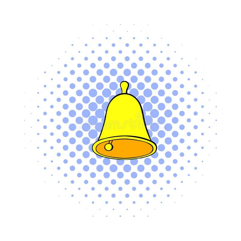 Icono de oro de la campana de mano, estilo de los tebeos ilustración del vector
