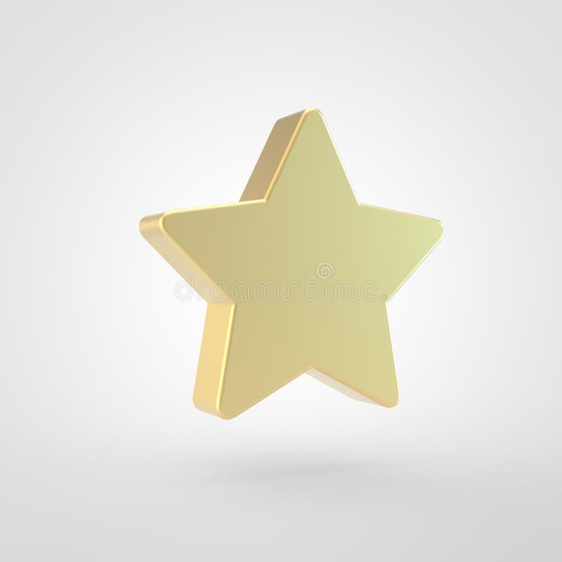 Icono de oro de la estrella aislado en el fondo blanco ilustración del vector
