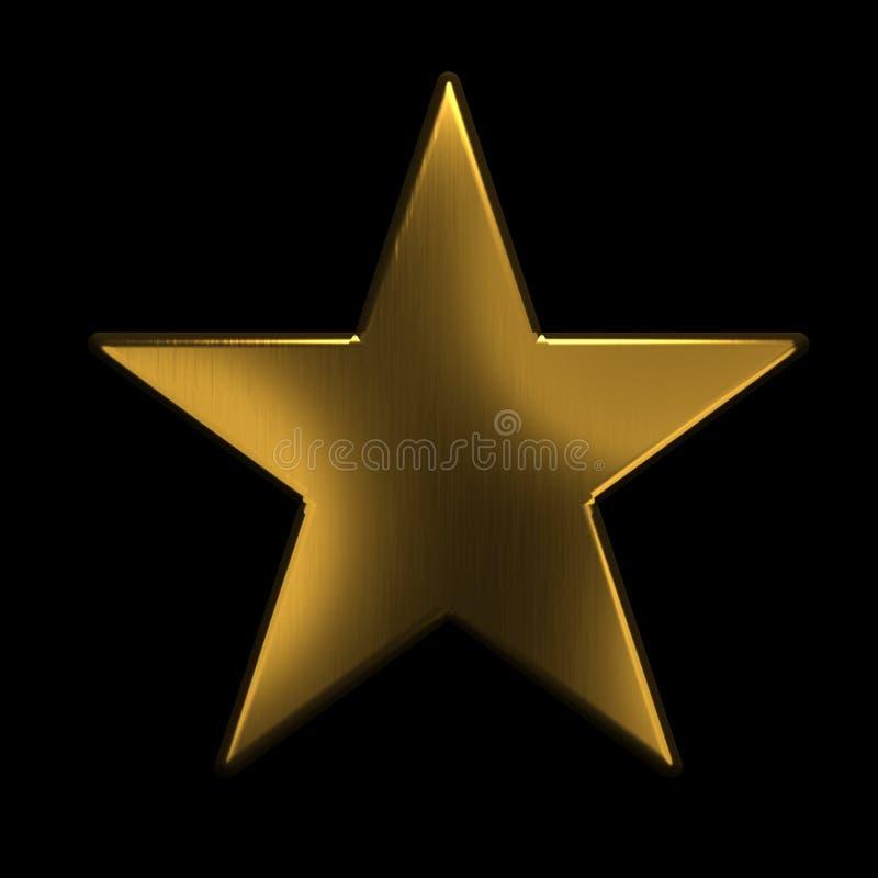 Icono de oro de la estrella el oro 3D rinde el ejemplo stock de ilustración