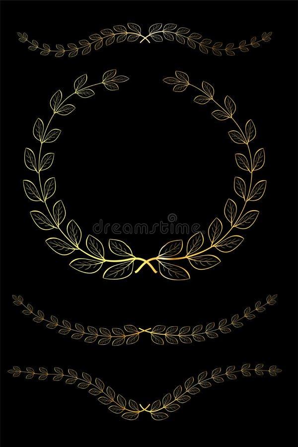Icono de oro de la guirnalda del laurel del garabato de la diversa forma, para su frontera del título, en el fondo negro ilustración del vector