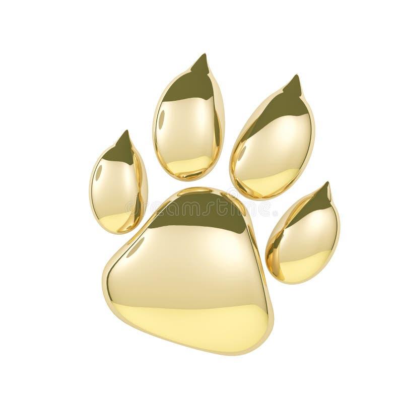 Icono de oro de la impresión de la pata aislado en el fondo blanco Representación de la huella 3D de la pata del perro libre illustration