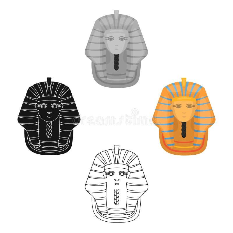 Icono de oro de la máscara del faraón s en la historieta, estilo negro aislada en el fondo blanco Vector de la acci?n del s?mbolo ilustración del vector