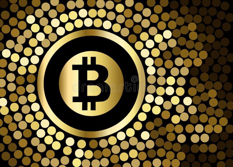 Icono de oro de los bitcoins para el cryptocurrency, moneda virtual, digital ilustración del vector