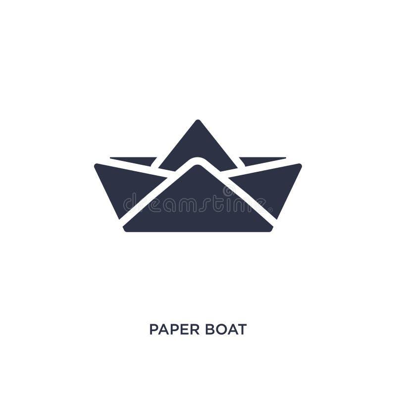 icono de papel del barco en el fondo blanco Ejemplo simple del elemento del concepto de la interfaz de usuario ilustración del vector
