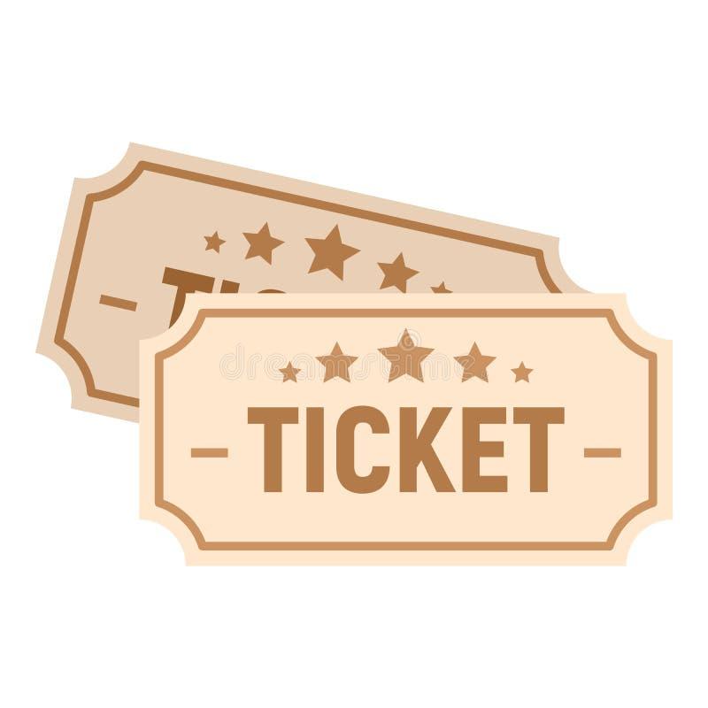 Icono de papel del boleto del cine, estilo plano stock de ilustración