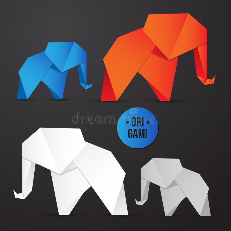 Icono de papel del elefante de la papiroflexia del vector Sistema origamy colorido Diseño de papel para su identidad ilustración del vector
