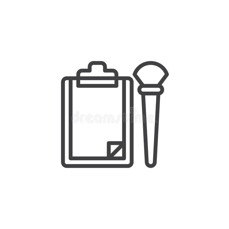 Icono de papel del esquema del tablero y del cepillo ilustración del vector
