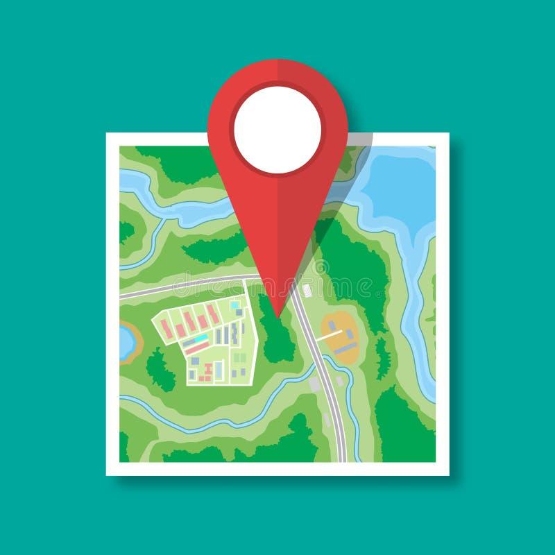 Icono de papel doblado del mapa de la ciudad libre illustration