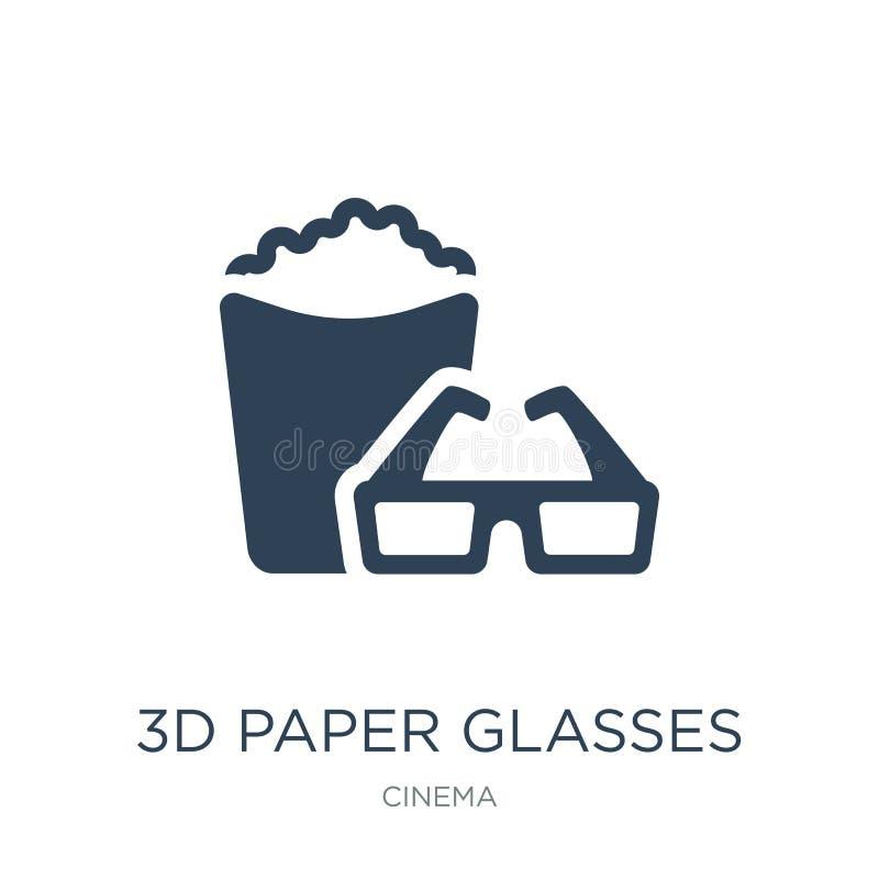 icono de papel de los vidrios 3d en estilo de moda del diseño icono de papel de los vidrios 3d aislado en el fondo blanco icono d stock de ilustración