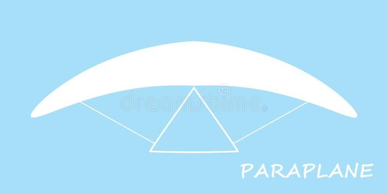 Icono de Paraplane en el vector azul eps10 del fondo Muestra del logotipo del Paragliding Muestra blanca del paraplane stock de ilustración