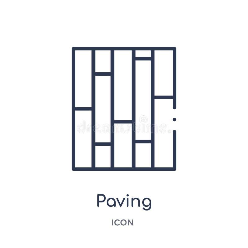 Icono de pavimentación linear de la colección del esquema de la construcción Línea fina que pavimenta el vector aislado en el fon libre illustration