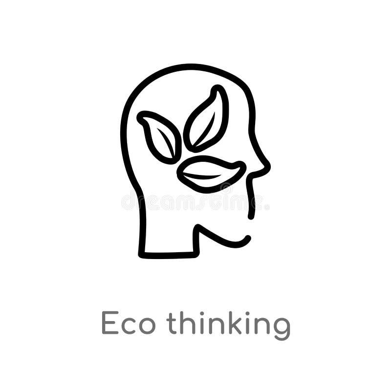 icono de pensamiento del vector del eco del esquema línea simple negra aislada ejemplo del elemento del concepto de la ecología y libre illustration