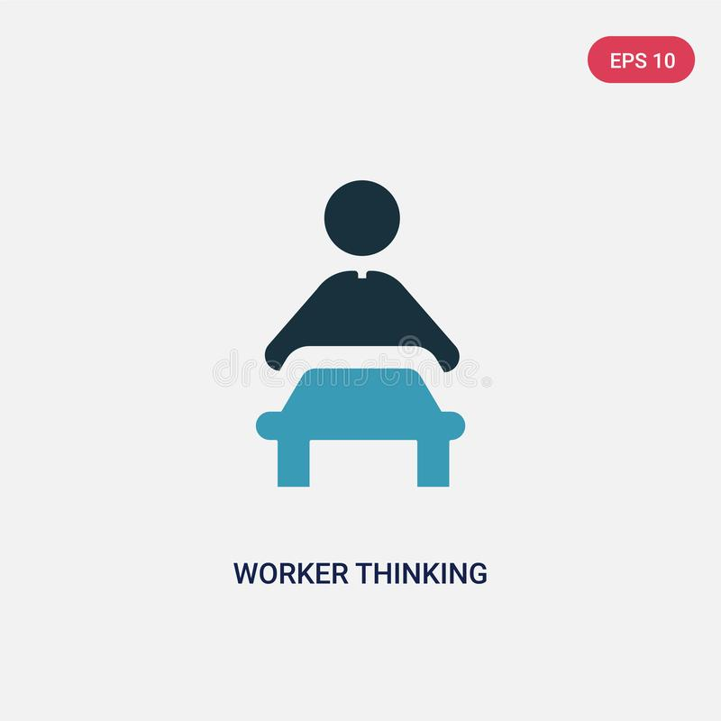 Icono de pensamiento del vector del trabajador bicolor del concepto de la gente el símbolo de pensamiento aislado de la muestra d libre illustration