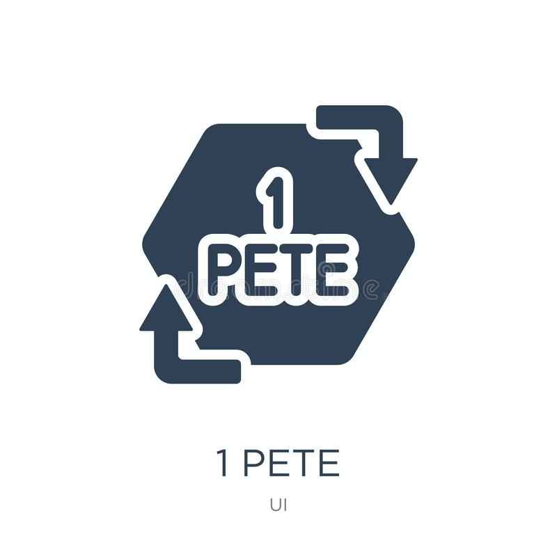1 icono de Pete en estilo de moda del diseño 1 icono de Pete aislado en el fondo blanco símbolo plano simple y moderno de 1 de Pe stock de ilustración