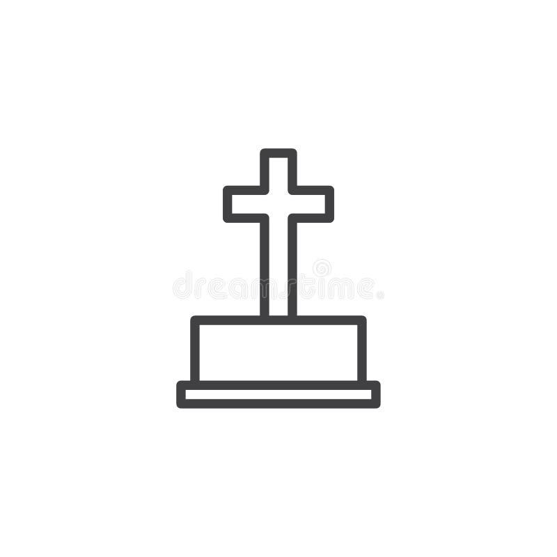 Icono de piedra grave del esquema de Halloween stock de ilustración