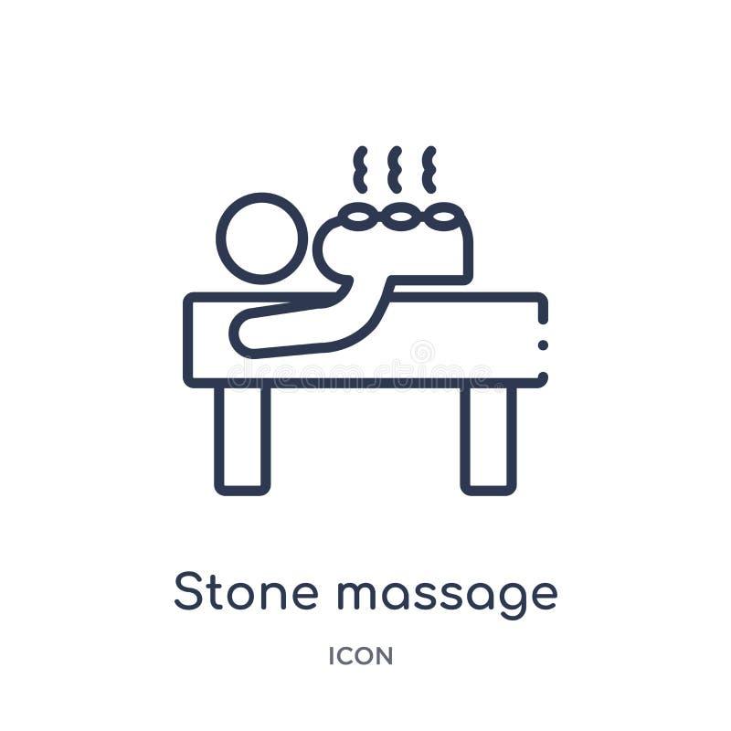 Icono de piedra linear del masaje de la colección del esquema de la belleza Línea fina icono del masaje de la piedra aislado en e stock de ilustración