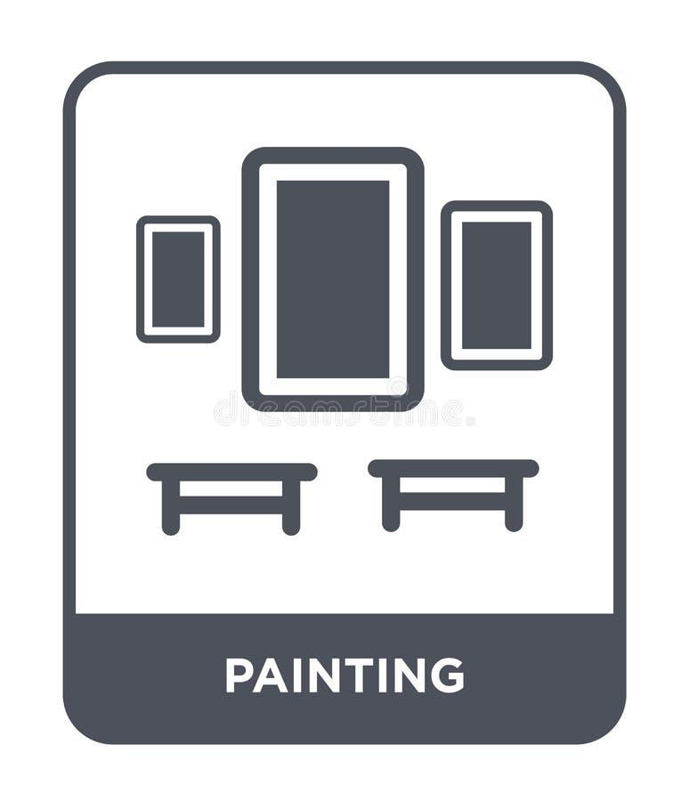 icono de pintura en estilo de moda del diseño icono de pintura aislado en el fondo blanco plano simple y moderno del icono de pin stock de ilustración