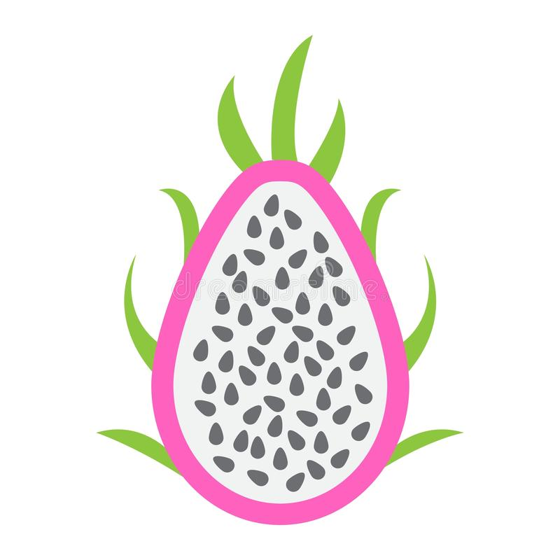 Icono de Pitaya, fruta del dragón y tropical planos ilustración del vector
