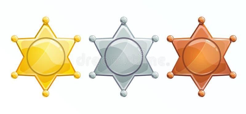 Icono de placa del alguacil. Estrella hexagonal de oro, plata, bronce ilustración del vector
