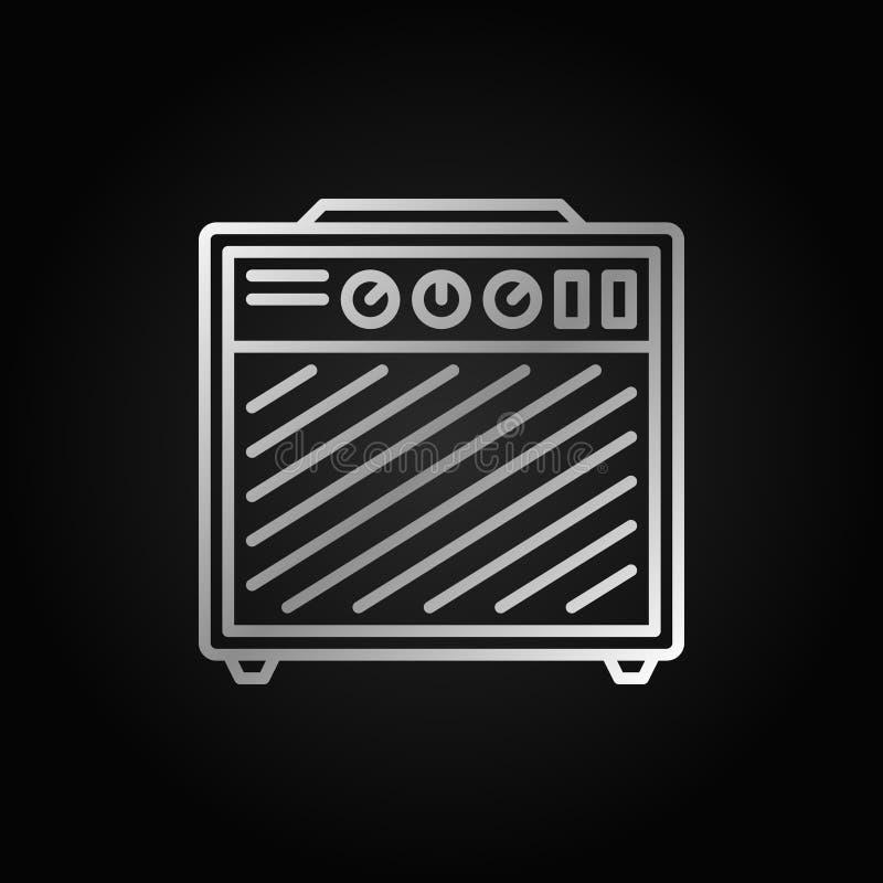 Icono de plata del esquema del amplificador en fondo oscuro libre illustration