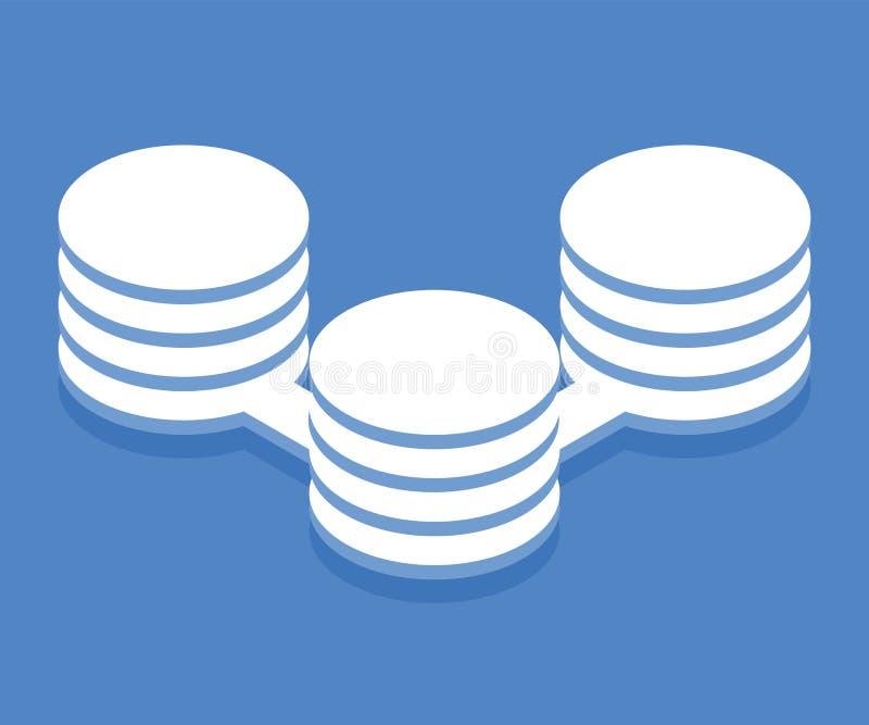 Icono de proceso de datos grande Ejemplo del vector en el estilo isométrico plano 3D stock de ilustración