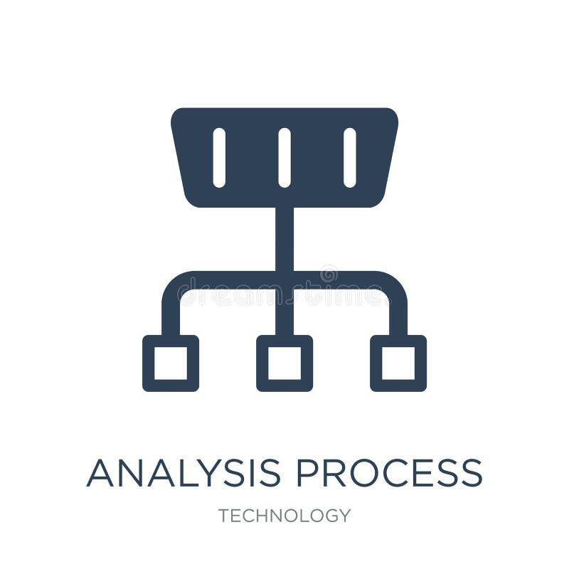 icono de proceso del análisis en estilo de moda del diseño icono de proceso del análisis aislado en el fondo blanco icono de proc ilustración del vector