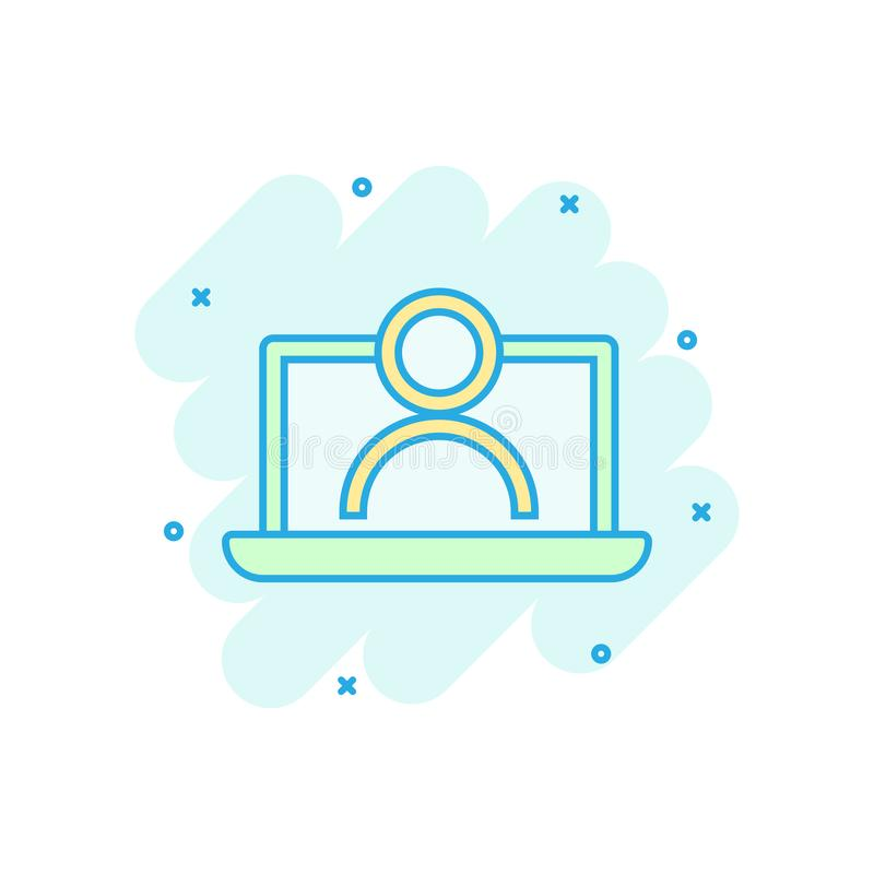 Icono de proceso del entrenamiento en línea en estilo cómico Pictograma del ejemplo de la historieta del vector del seminario de  ilustración del vector