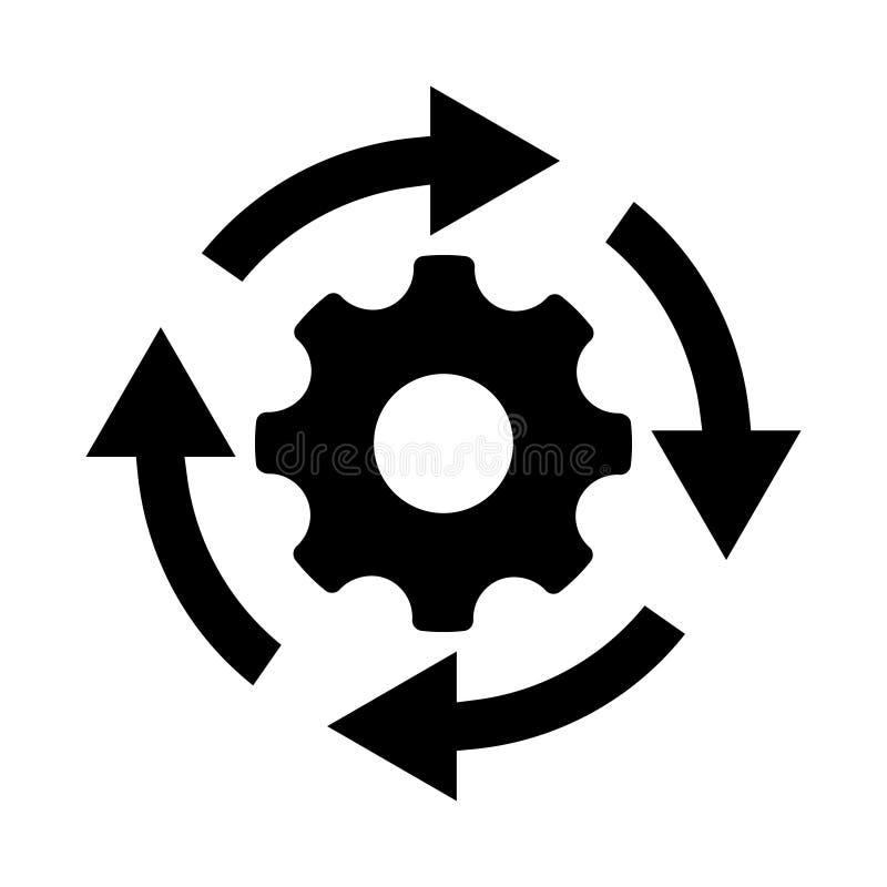 Icono de proceso del flujo de trabajo en estilo plano Adapte la rueda del diente con el ejemplo del vector de las flechas en fond stock de ilustración