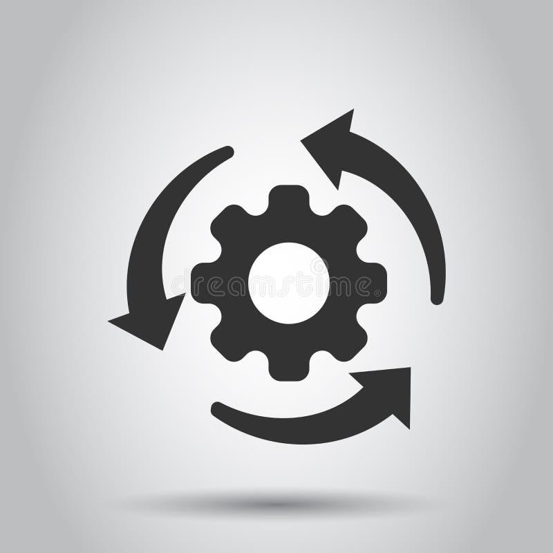 Icono de proceso del flujo de trabajo en estilo plano Rueda del diente del engranaje con el ejemplo del vector de las flechas en  stock de ilustración
