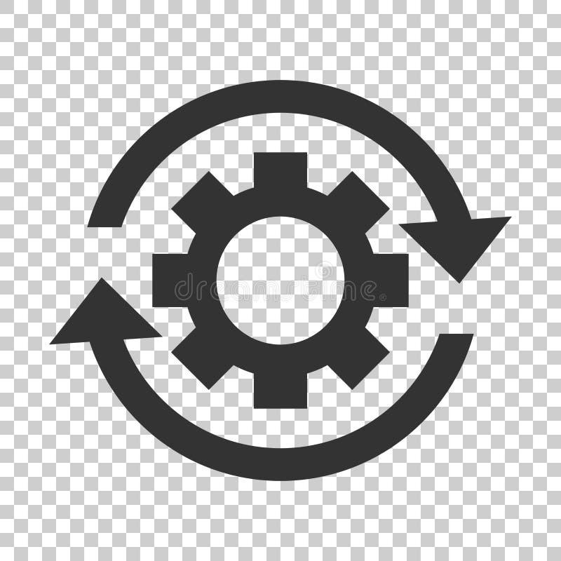 Icono de proceso del flujo de trabajo en estilo plano Rueda del diente del engranaje con las flechas ilustración del vector