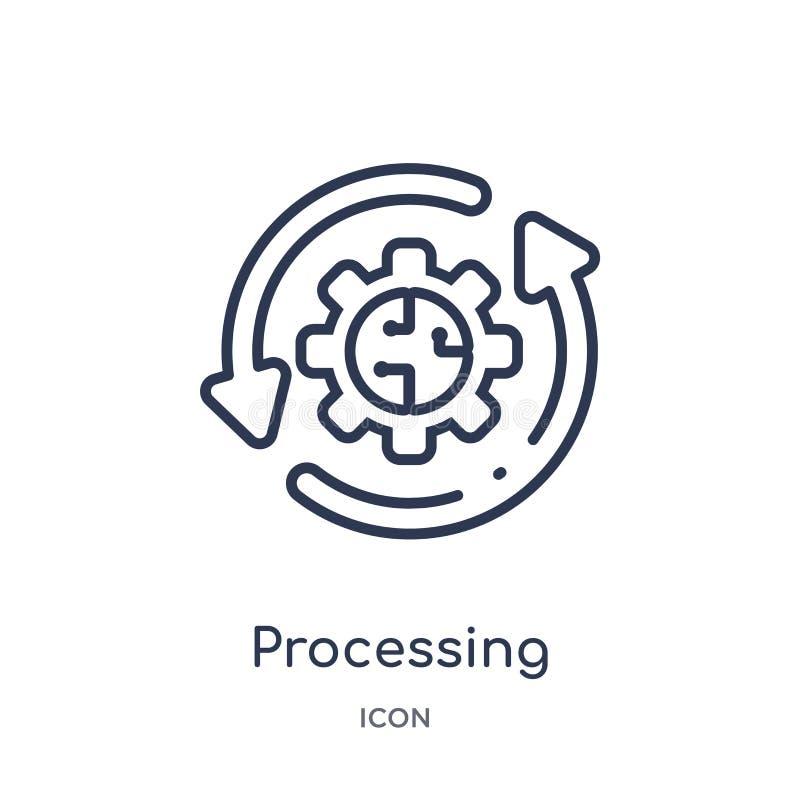 Icono de proceso linear del intellegence artificial y de la colección futura del esquema de la tecnología Línea fina que procesa  ilustración del vector