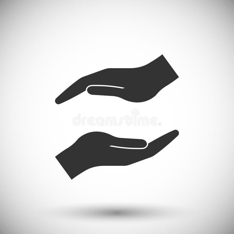 Icono de protección de las manos ilustración del vector