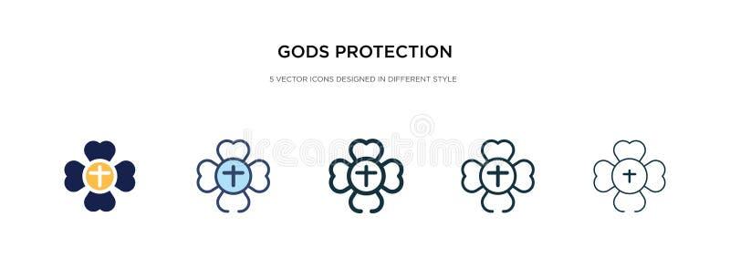 Icono de protección de dioses en ilustración vectorial de estilo diferente dos iconos vectoriales de protección de dioses negros  stock de ilustración